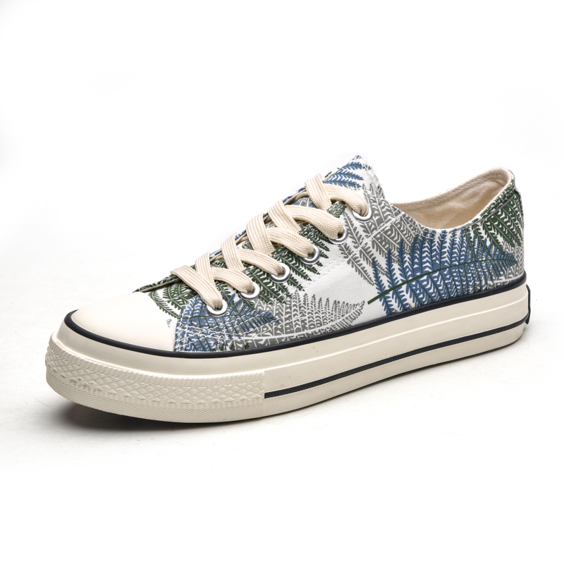 Printed high top canvas shoes mens black and white pattern