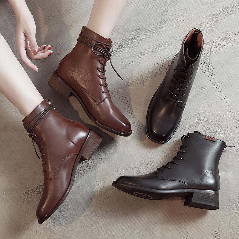 新款mona同款鞋马丁靴女英伦风短靴百搭英伦风真皮中筒机车靴子