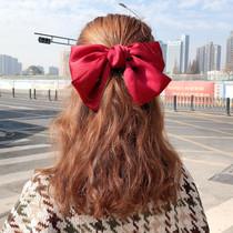 大蝴蝶结红色发夹女韩国后脑勺发饰少女边夹顶夹发卡发绳夹子头饰