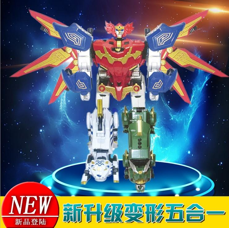 Chinas large-scale combination of basaltic unicorn, rosefinch and white tiger film green dragon robot five deformation reappearance play.