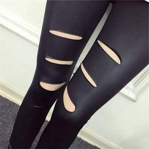 颂姬新款破洞皮裤薄款韩版打底裤
