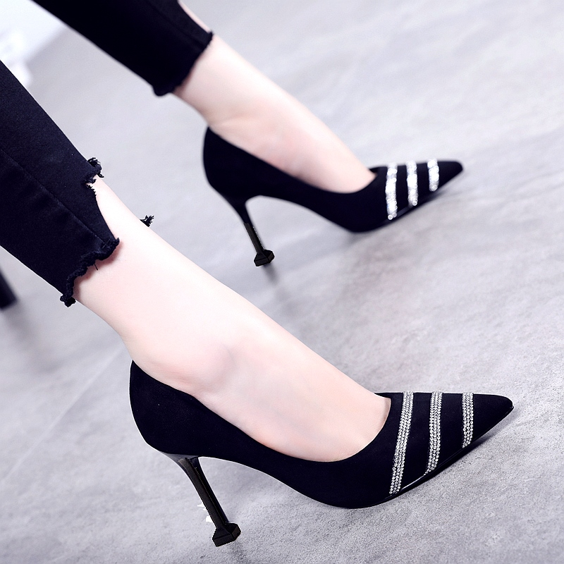 2020 versatile Korean womens Stiletto High Heel shoes new single shoes sexy fashion Black Suede pointed woman