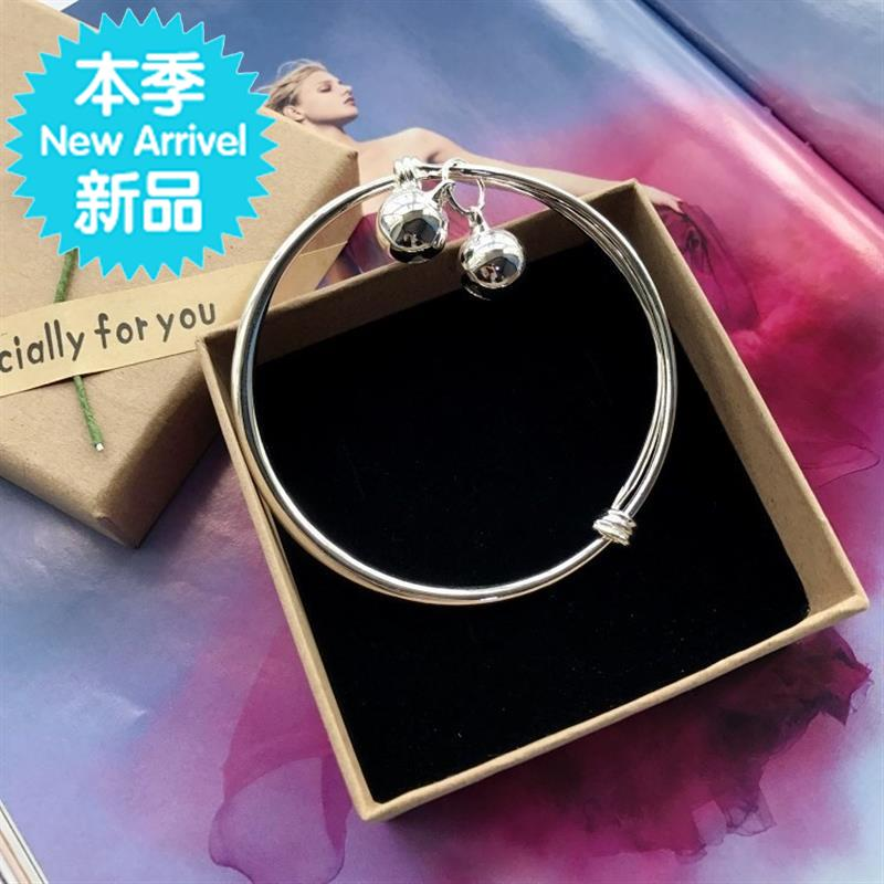 New K Korean small bell Bracelet Silver Fashion Chain girls smooth face simple versatile temperament foot ring