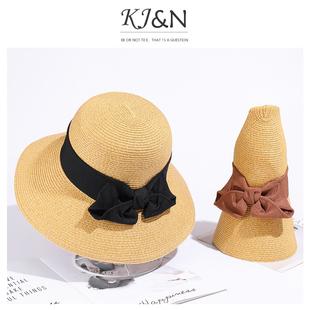 娘娘同款草帽女夏天ins可折叠百搭遮脸防晒日本uvcut沙滩遮阳帽子