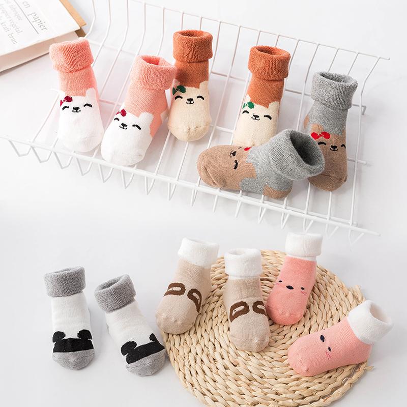 冬季儿童毛圈袜子女童加厚男童婴儿袜子加绒宝宝袜子小童可爱小孩
