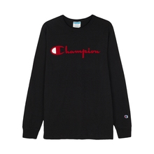 Champion men's casual Street couple's cursive logolife round neck long sleeve T-shirt