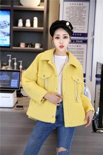 韩版宽松短款羊羔毛外2019秋冬新款女装套女大码羊毛羔绒短外套潮