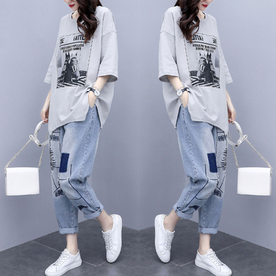 Pure cotton T-shirt fashion suit female summer new style Korean large size loose casual sportswear two-piece jeans
