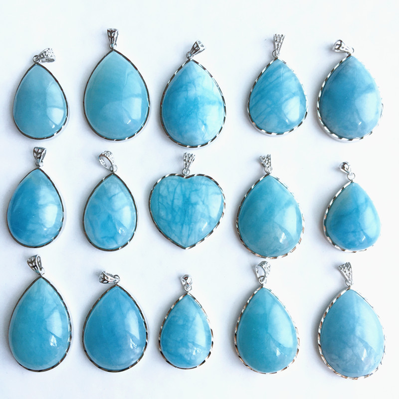 Pick up the lost Aquamarine pendant drop shaped Aquamarine pendant Aquamarine crystal sweater chain wrapped gift