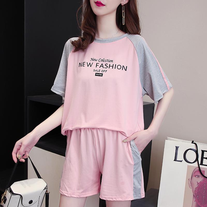 运动套装女夏季2021新款时尚宽松韩版短袖T恤短裤显瘦休闲两件套