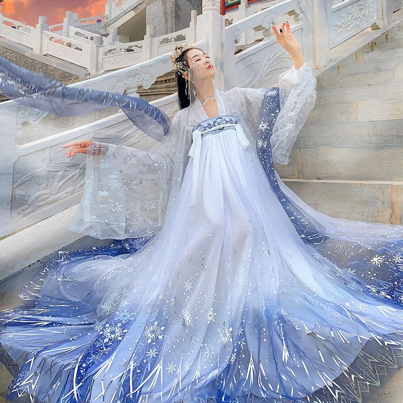 汉服女中国风超仙古装拜星月齐腰齐胸襦裙正品原创白菜-汉服(月梳茼旗舰店仅售158元)