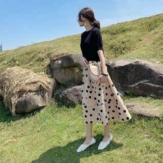 2020年夏季新款大码女装韩版时尚短袖两件套装显瘦沙滩连衣裙