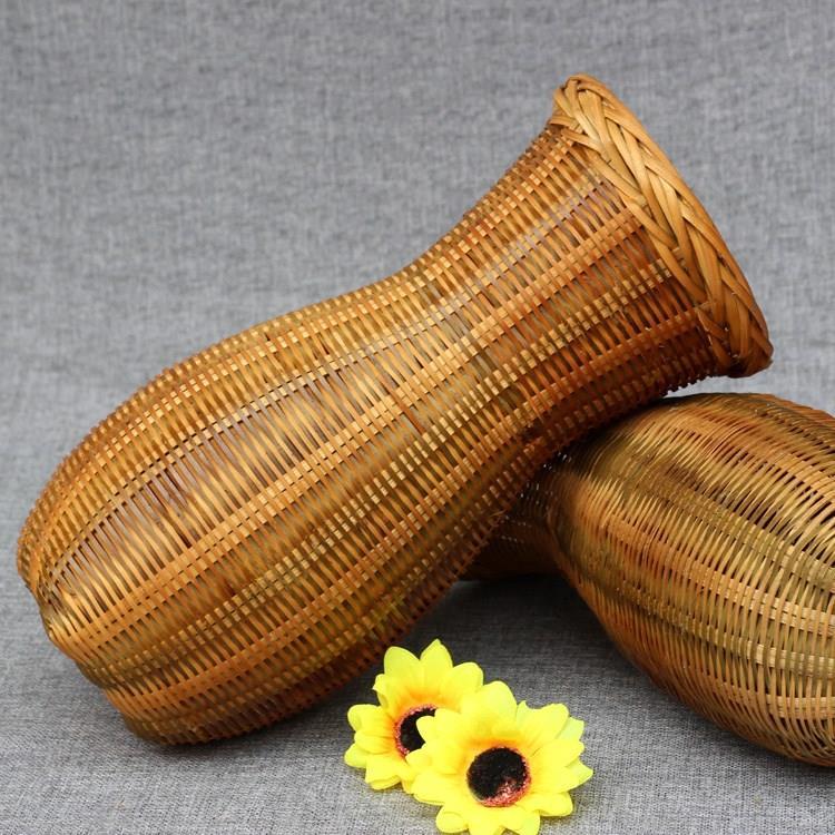 纯手工竹编灯罩竹编鱼篓舞台道具小背篓装饰竹编竹编花瓶复古灯饰
