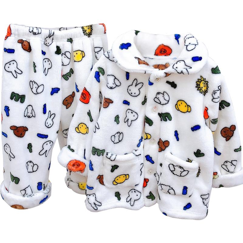 儿童300克加厚款法兰绒睡衣套装 男童冬保暖宝宝家居套装女中小童