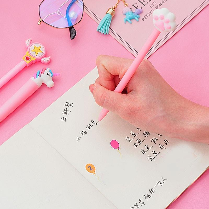 Creative and lovely combination liquid blue junior high school students fashion signature pen girl heart stationery pink pen card