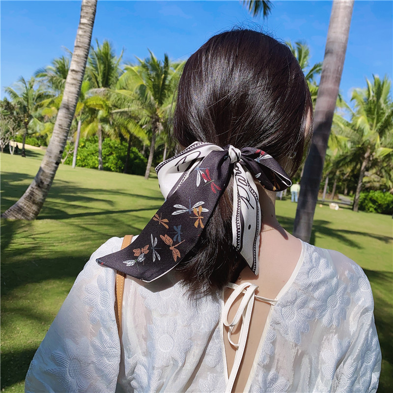 New red silk scarf hairband Korean East Gate temperament printing adult bow ribbon fabric hair accessories