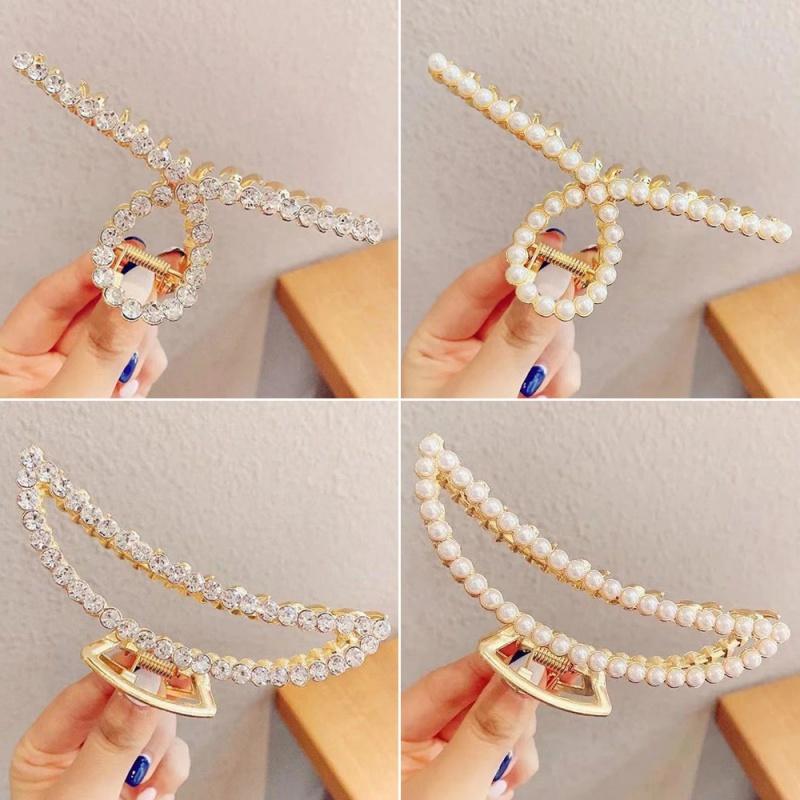 韩版水钻ins珍珠女 法式复古后脑勺抓夹发卡顶夹鲨鱼夹子头饰
