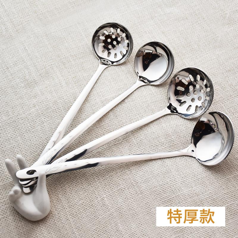 汤勺家用不锈钢304火锅勺子长柄大号盛汤加厚小号漏勺喝汤铁商用
