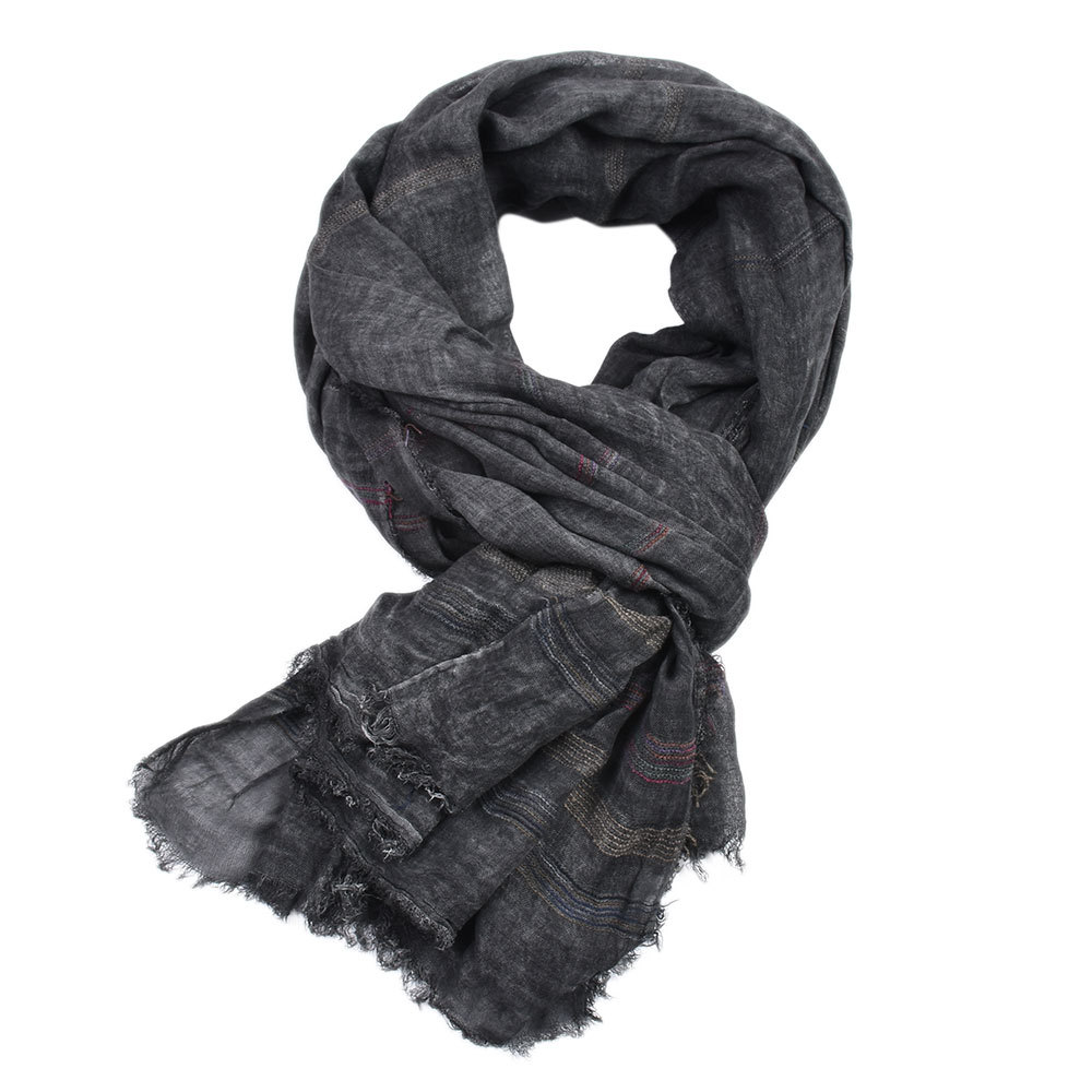 Europe and America mens 2019 new yarn dyed striped scarf mens winter pure color cotton linen scarf