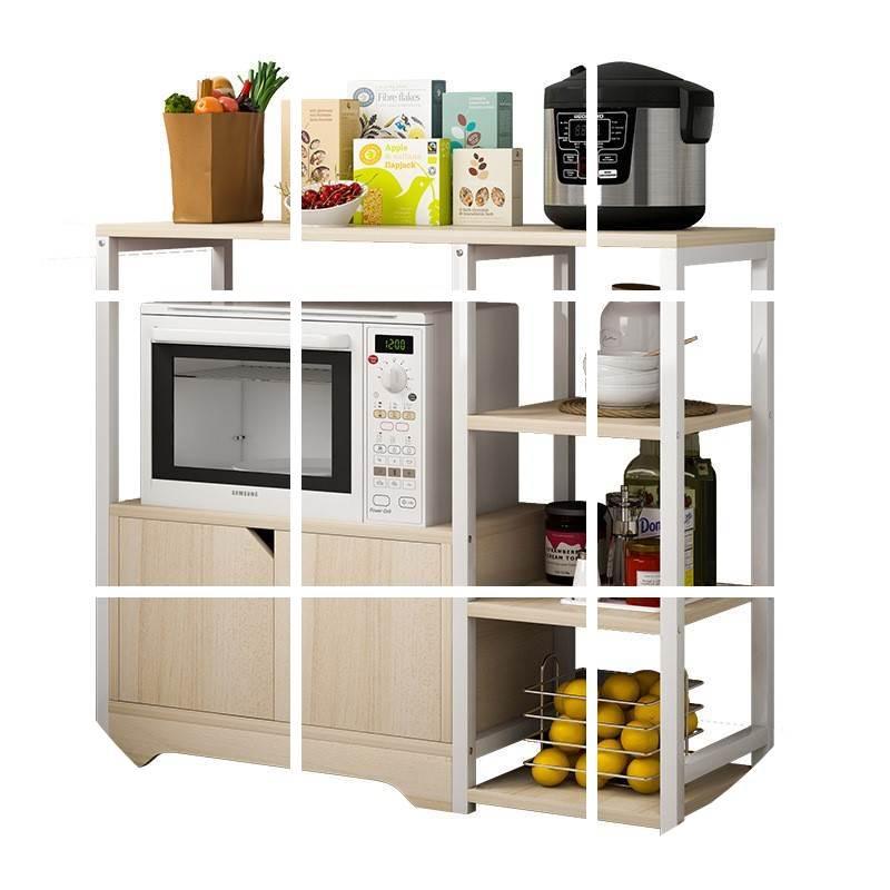 集梦生活馆厨房电器收纳置物架家用微波炉欧式多功能客厅储物碗柜