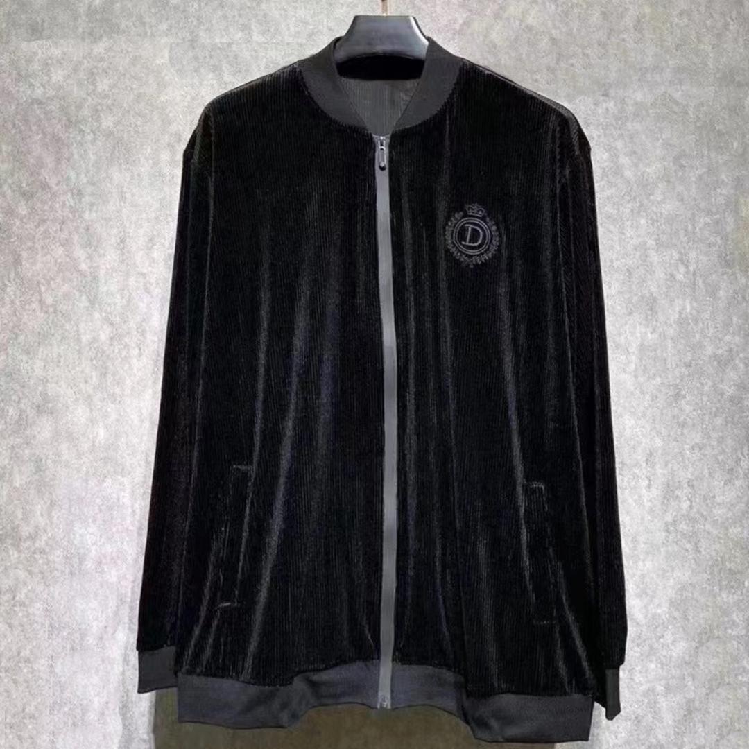 Spring and autumn baseball collar plus large zipper cardigan sweater fashion dark grain loose casual oversized thin coat men