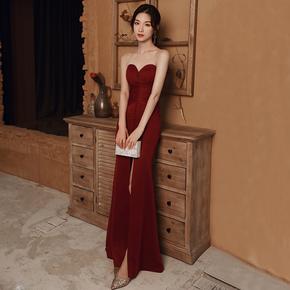 敬酒服新娘2020新款气质性感抹胸酒红色晚礼服裙高级质感鱼尾修身