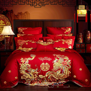 真品罗莱家纺婚庆四件套大红纯棉刺绣结婚六八十件套全棉床上用品