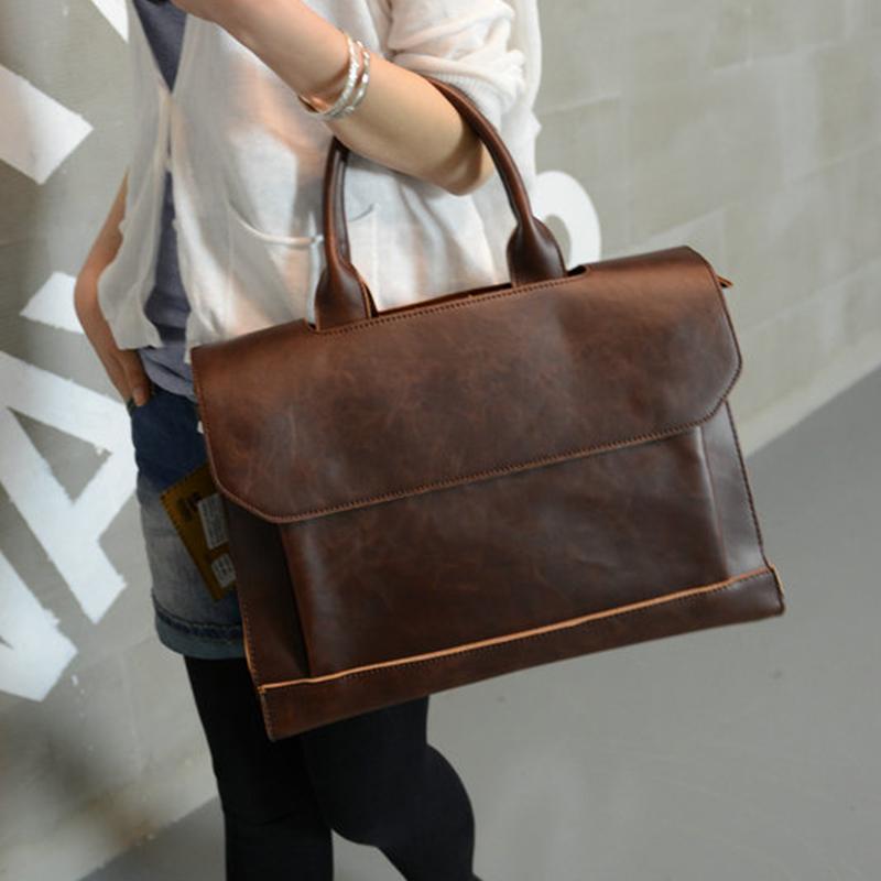 Trendy new fashion bag business handbag messenger bag leisure retro shoulder bag briefcase casual bag woman