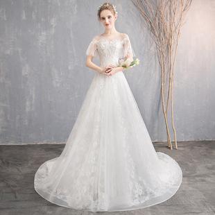 一字肩主婚纱2018新款冬季修身显瘦齐地白色简约新娘结婚小拖尾女
