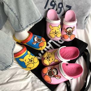 小熊维尼拖鞋女洞洞鞋外穿软底防滑夏季红色ins可爱粉色包头凉鞋