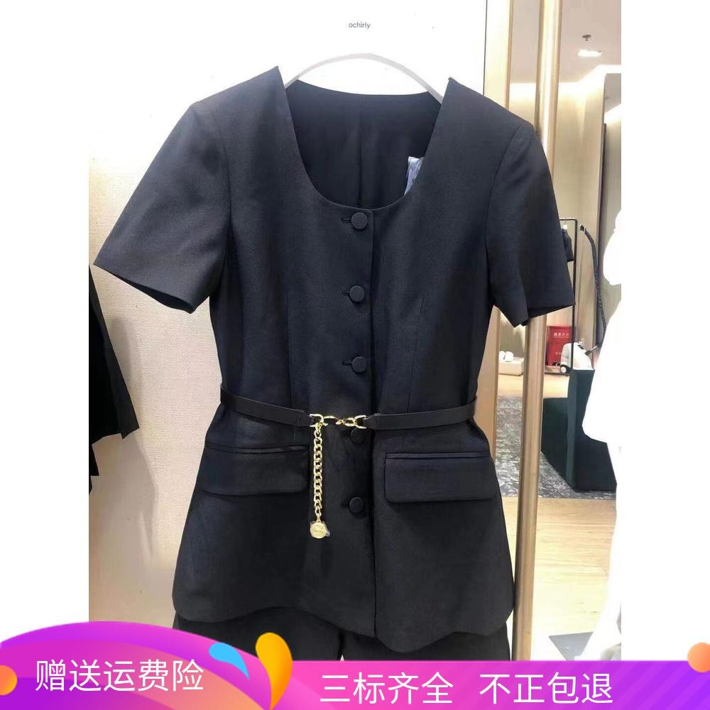 2021新品夏装伍欧时力淼假两件U领腰带短款连体裤女1NH3135510