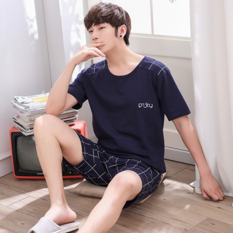 China Cotton home suit plus size summer mens youth vest shorts mens pajamas Summer Cotton