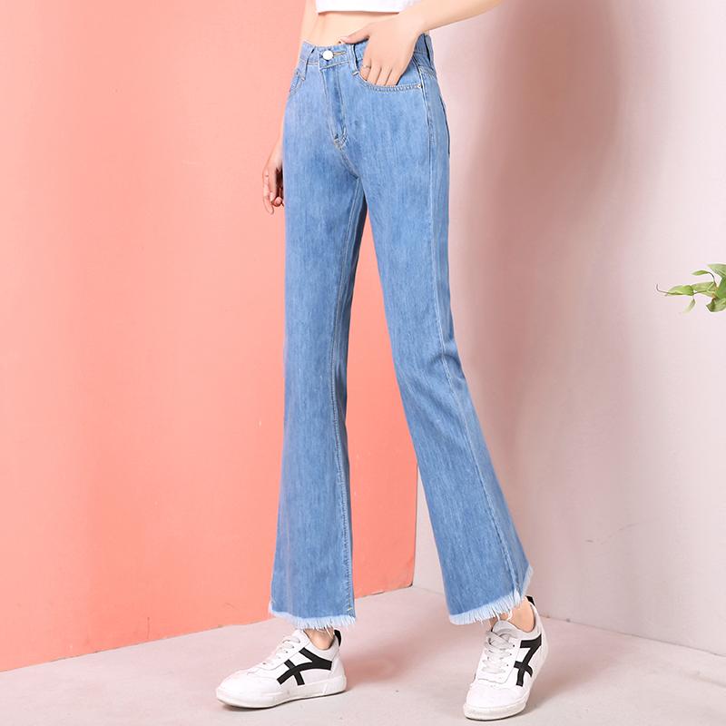 牛仔喇叭褲拖地褲女2019新款闊腿寬松高腰顯瘦直筒九分微喇長褲子