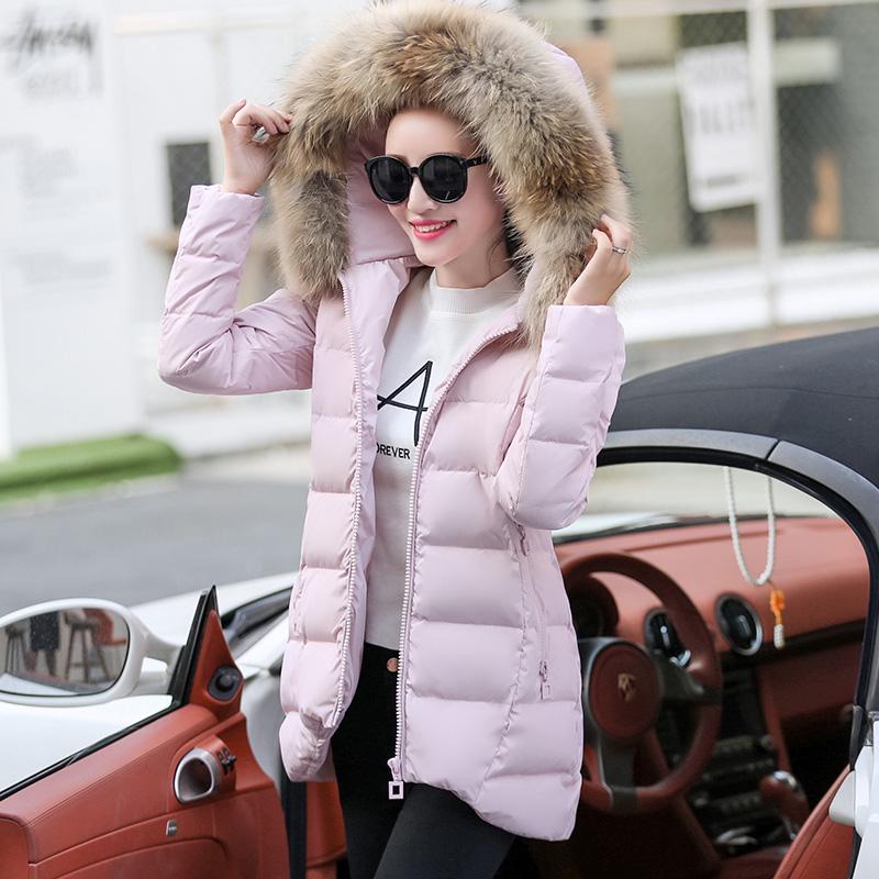 官网季新歌莉娅白鸭绒羽绒服女2020新款宽松显瘦秋冬季韩版大毛领