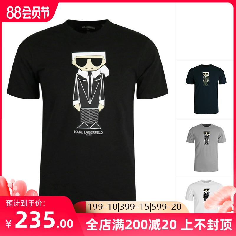 Karl Lagerfeld卡尔拉格斐 老佛爷男圆领短袖T恤纯棉半袖美国直邮