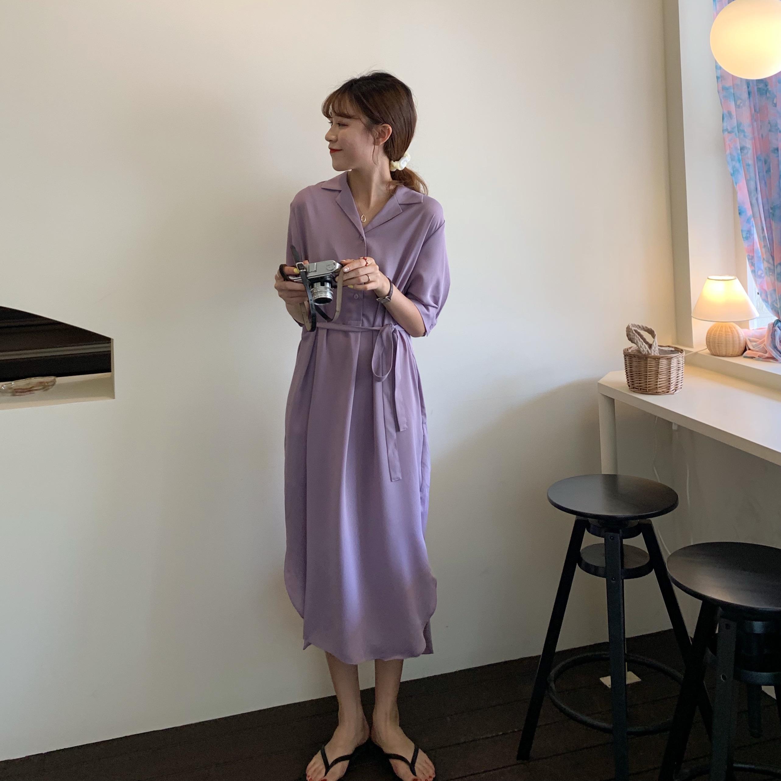 短袖连衣裙女夏季韩版雪纺V领衬衫高腰显瘦纯色气质中长款三粒扣
