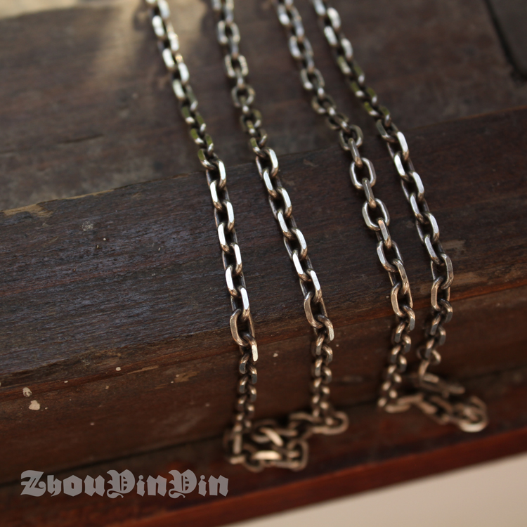 Taiyin 3.5mm Taijiao chain 925 Sterling Silver Old Necklace simple retro sweater chain mens and womens Necklace