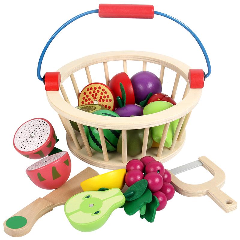 水果篮切切乐看儿童玩具套装木制头磁性蔬菜仿真过家家厨房女男孩
