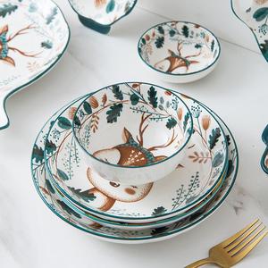 【贝贝说旗舰店】纯手工绘制陶瓷碗小鹿碗4个