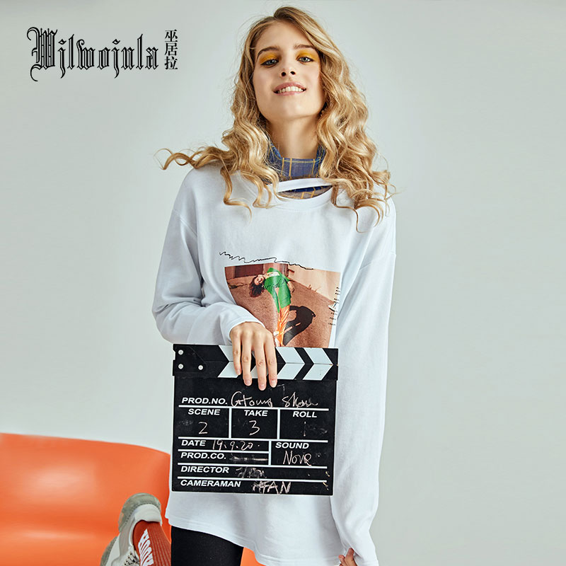 Wjlwojula wujula autumn / winter 2020 new white Long Sleeve T-Shirt women print round neck T-shirt fashion trend