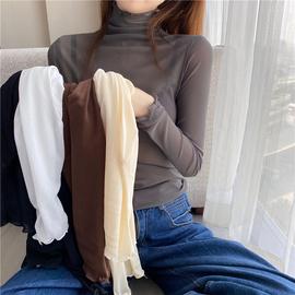 歐貨網紗蕾絲高領打底衫女長袖春秋百搭洋氣秋冬內搭t恤顯瘦上衣圖片