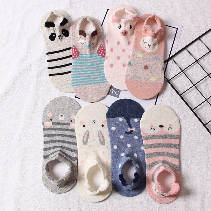 Lovely boat socks female four seasons cotton socks Korean low top cotton women shallow mouth personality with stereo ear socks children