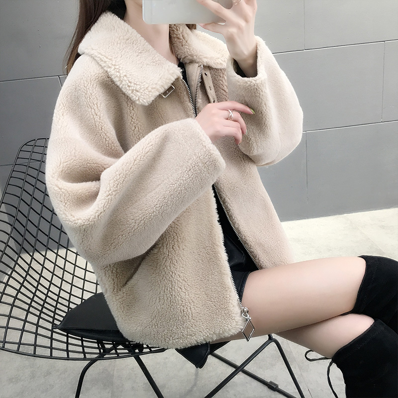 Lamb wool coat womens winter short loose grain wool fur integrated new sheep shearer coat fur womens clothing