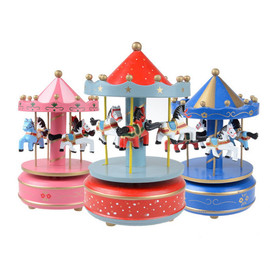 High Quality Wooden Merry-Go-Round Music Box Chrimas Birth
