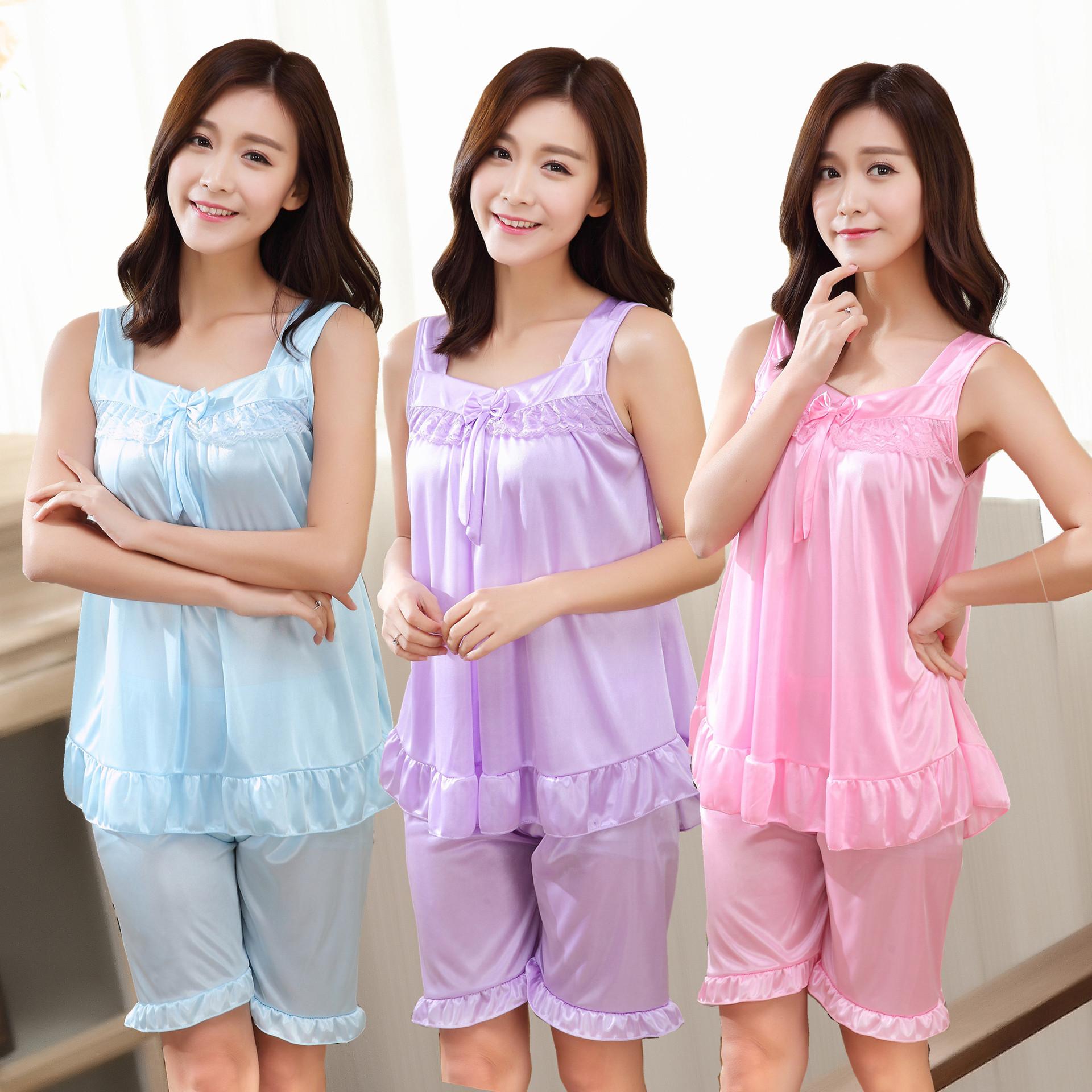 丝睡衣女夏季吊带感丝绸无袖两件套装薄款短袖宽松家居服韩版Q08