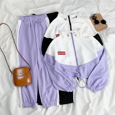 新款秋季套装少女卫衣裤两件套韩版网红拼色宽松休闲运动套装学生