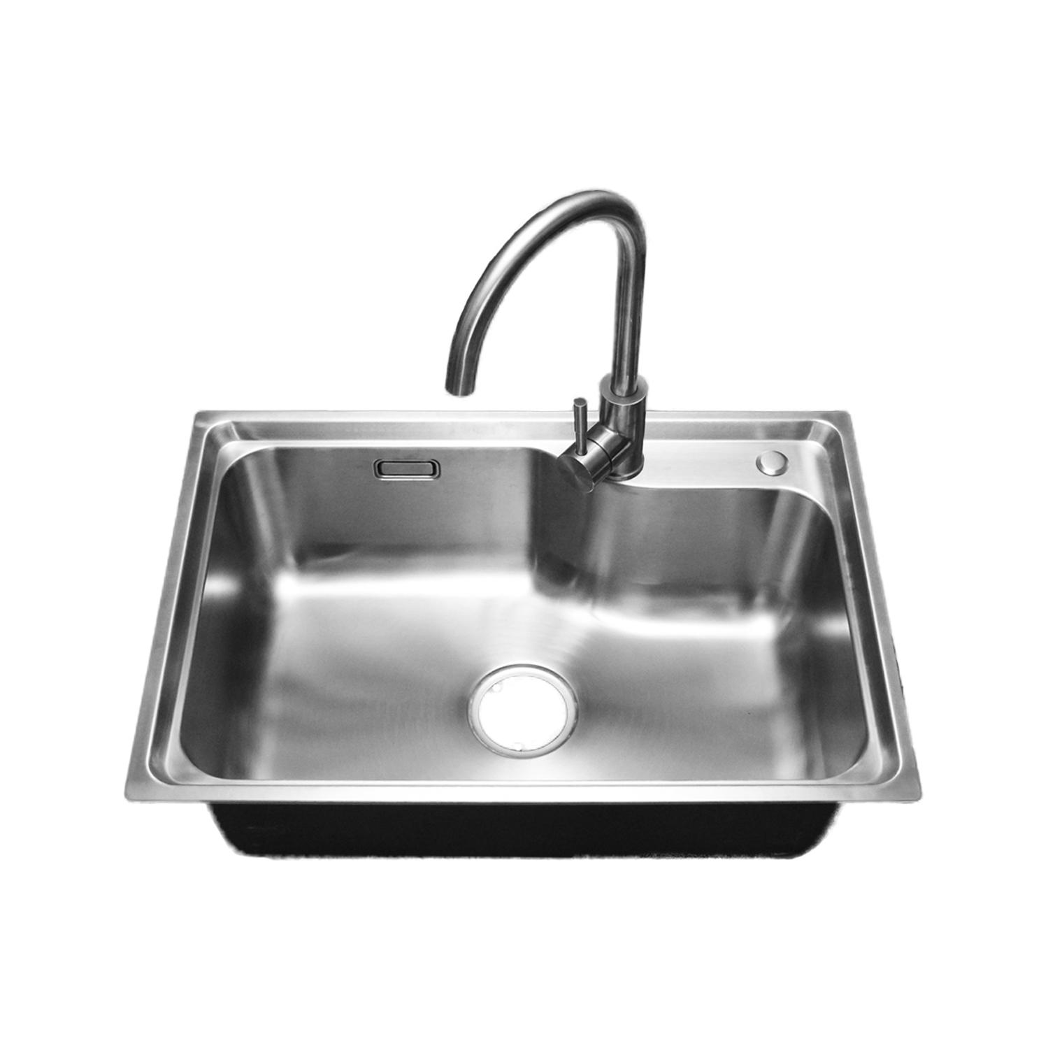 一体成型引張りステンレスの厚さ304水槽家庭用台所の食器洗い場の蛇口で大きな皿を洗います。