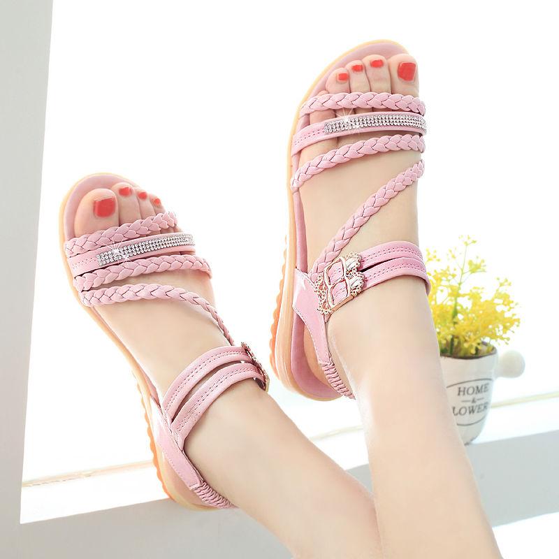 ZZ4凉鞋女2021新款夏季平底百搭学生韩版凉鞋仙女外穿防滑罗马鞋