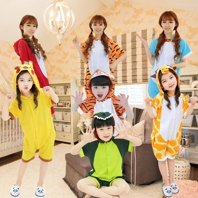 One piece pajamas for a family father son mother daughter summer thin short sleeve air conditioner loose Korean household clothing