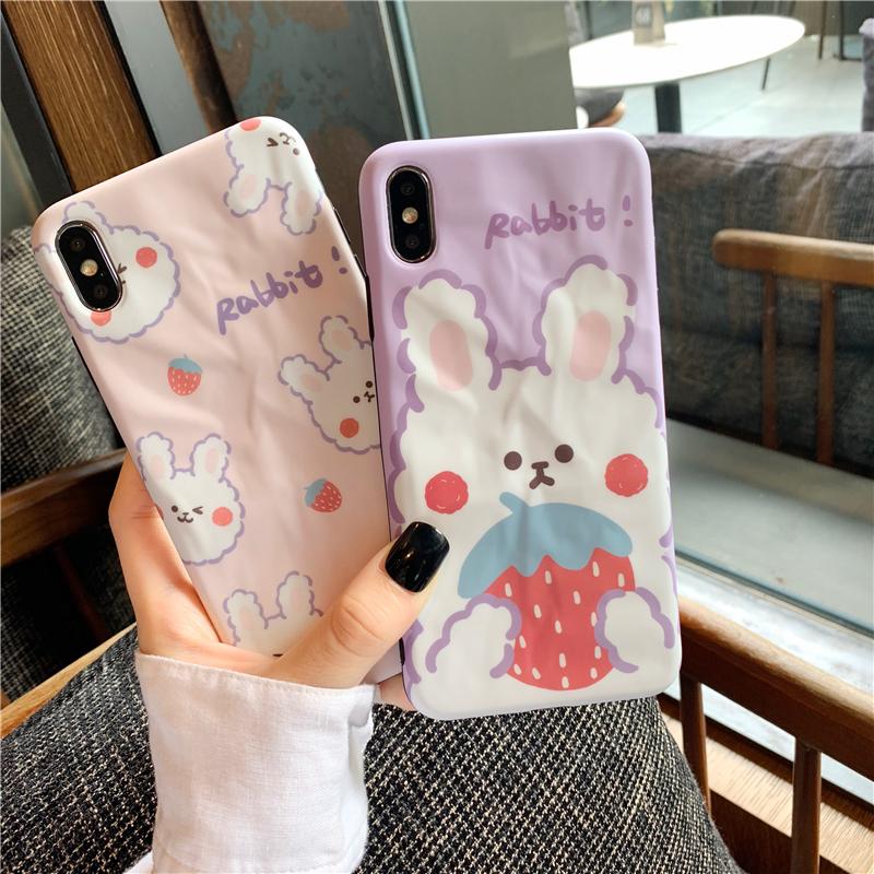 10-27新券褶皱草莓兔子oppor15手机壳reno女神r17硅胶oppoa5/3全包r11